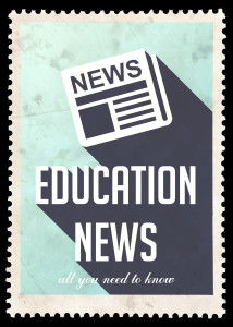 Education News on Blue in Flat Design.