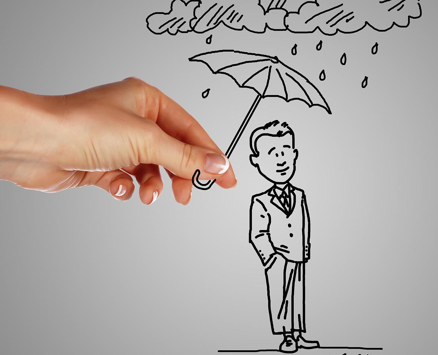 cartoon of a hand holding an umbrella over a man