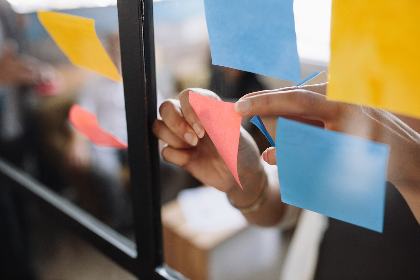 post-it notes on a window