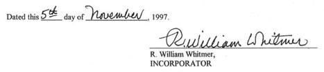 HERO incorporation document