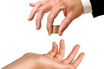 handing off coins