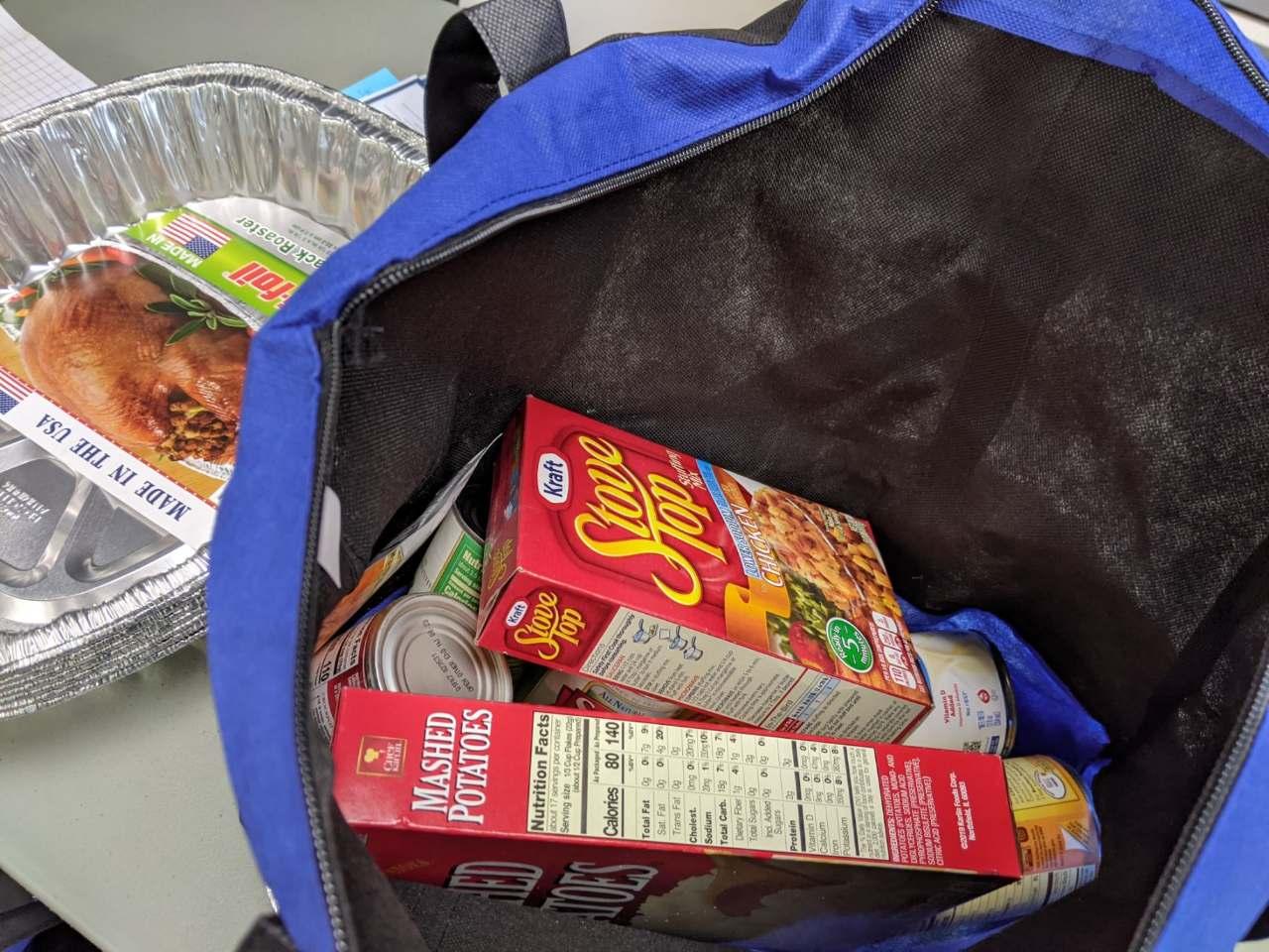 Stovetop stuffing boxes inside a bag for food shelf