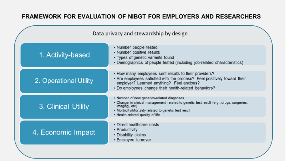 """Slide titled """"Framework for Evaluation of NIBGT for Employers and Researches"""""""
