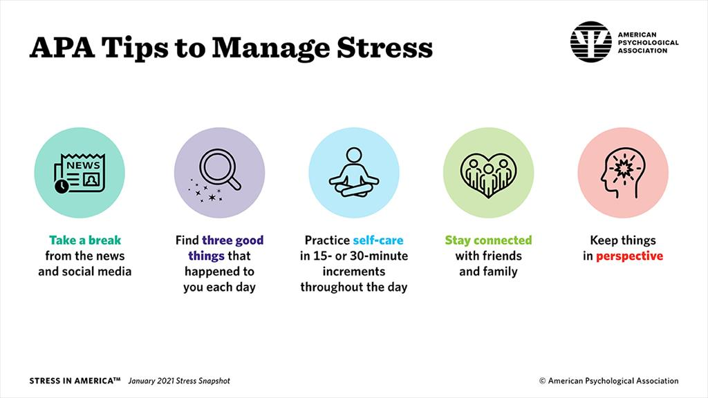 APA Tips to Manage Stress infographic